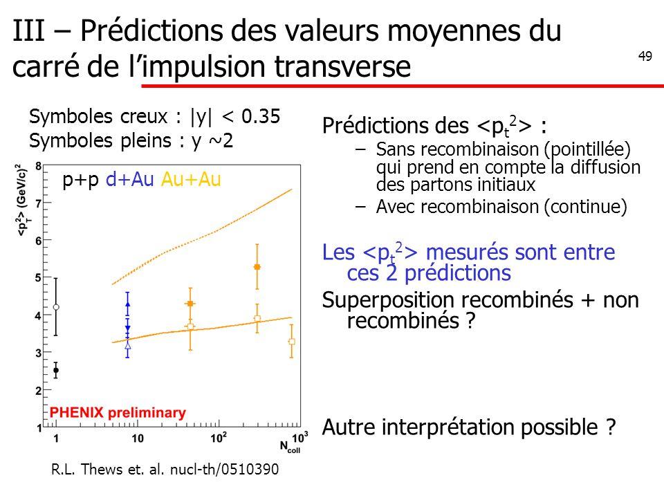 49 III – Prédictions des valeurs moyennes du carré de l'impulsion transverse Prédictions des : –Sans recombinaison (pointillée) qui prend en compte la diffusion des partons initiaux –Avec recombinaison (continue) Les mesurés sont entre ces 2 prédictions Superposition recombinés + non recombinés .
