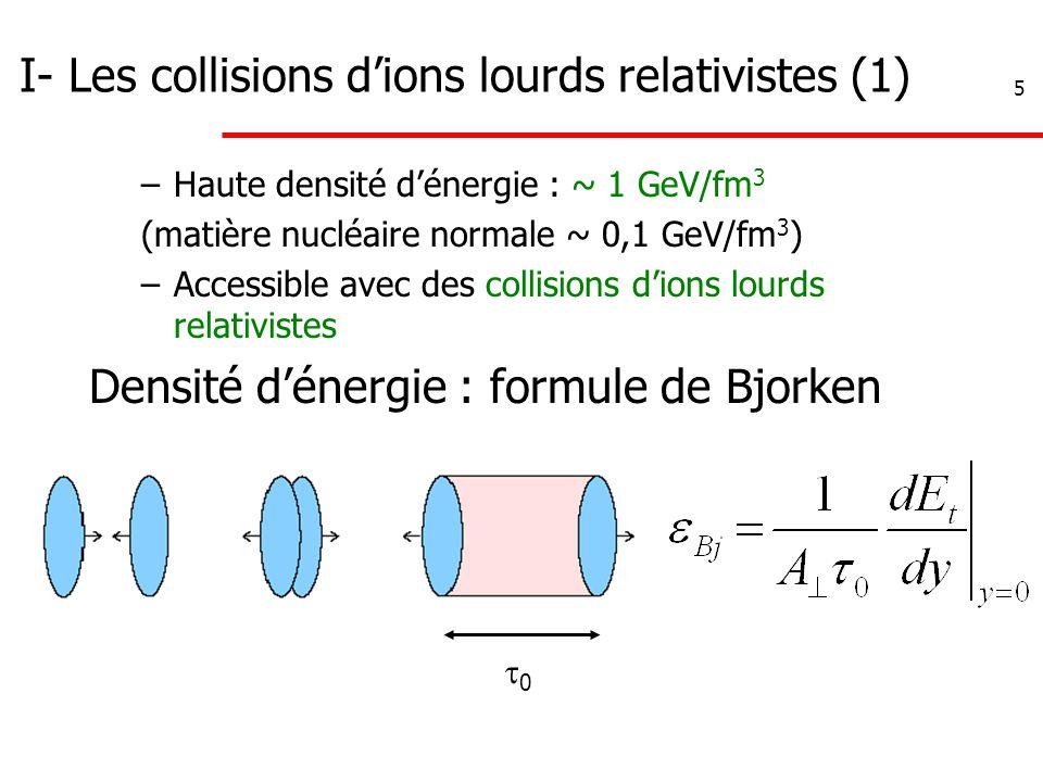 5 I- Les collisions d'ions lourds relativistes (1) –Haute densité d'énergie : ~ 1 GeV/fm 3 (matière nucléaire normale ~ 0,1 GeV/fm 3 ) –Accessible ave