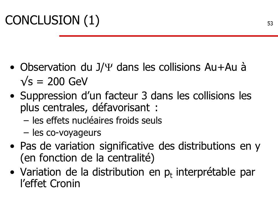 53 CONCLUSION (1) Observation du J/  dans les collisions Au+Au à √s = 200 GeV Suppression d'un facteur 3 dans les collisions les plus centrales, défavorisant : –les effets nucléaires froids seuls –les co-voyageurs Pas de variation significative des distributions en y (en fonction de la centralité) Variation de la distribution en p t interprétable par l'effet Cronin