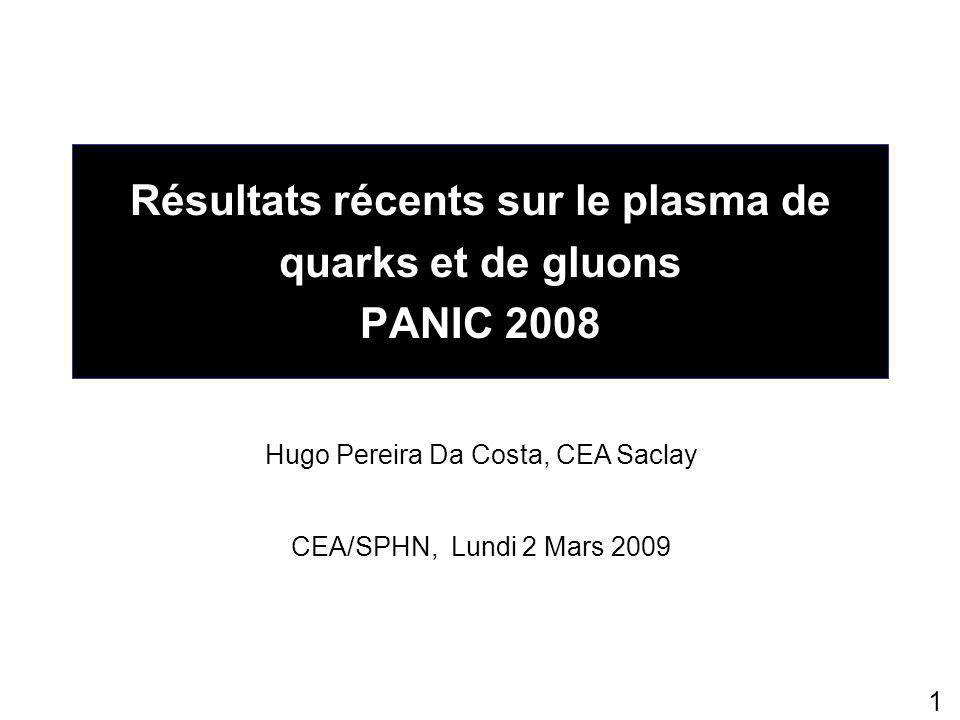 1 Résultats récents sur le plasma de quarks et de gluons PANIC 2008 Hugo Pereira Da Costa, CEA Saclay CEA/SPHN, Lundi 2 Mars 2009