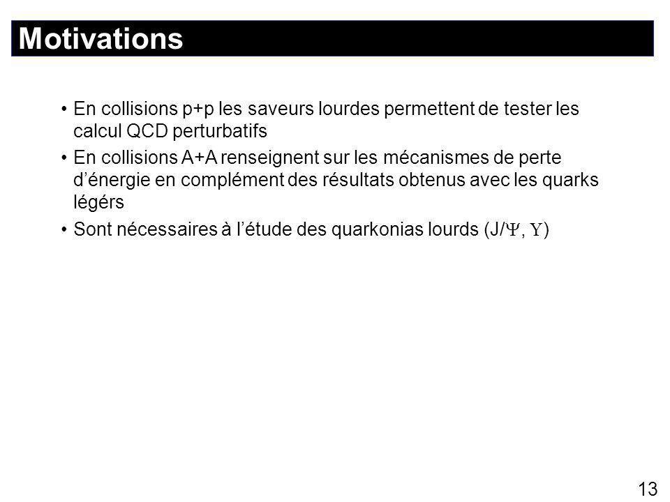 Motivations 13 En collisions p+p les saveurs lourdes permettent de tester les calcul QCD perturbatifs En collisions A+A renseignent sur les mécanismes de perte d'énergie en complément des résultats obtenus avec les quarks légérs Sont nécessaires à l'étude des quarkonias lourds (J/ ,  )