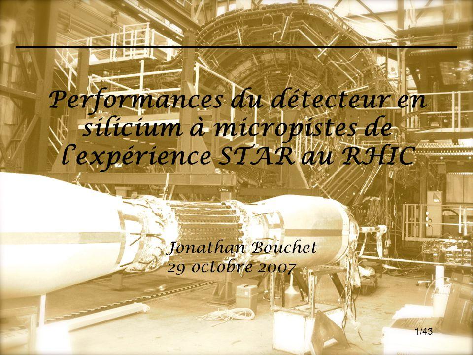 1/43 Performances du détecteur en silicium à micropistes de l'expérience STAR au RHIC Jonathan Bouchet 29 octobre 2007