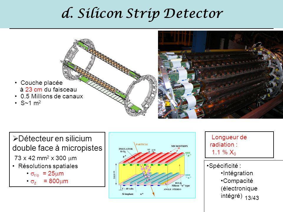 13/43 d. Silicon Strip Detector Longueur de radiation : 1.1 % X 0  Détecteur en silicium double face à micropistes 73 x 42 mm 2 x 300  m Résolutions