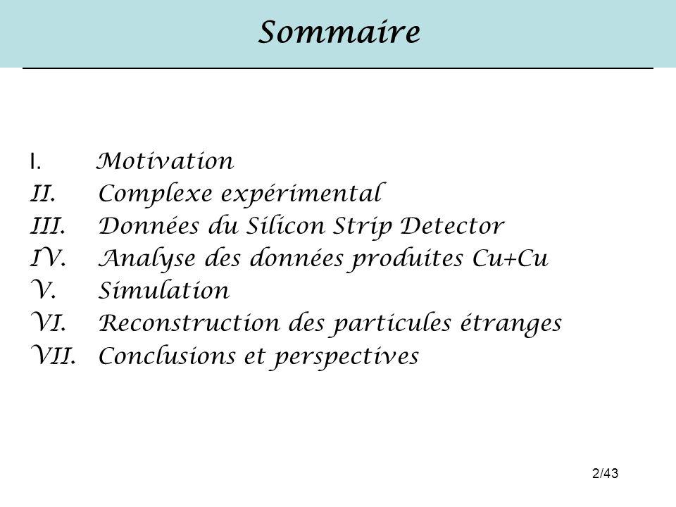 2/43 Sommaire I. Motivation II. Complexe expérimental III. Données du Silicon Strip Detector IV. Analyse des données produites Cu+Cu V. Simulation VI.