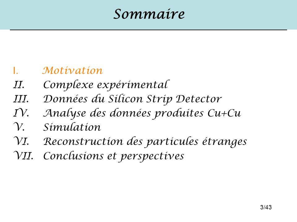 3/43 Sommaire I. Motivation II. Complexe expérimental III. Données du Silicon Strip Detector IV. Analyse des données produites Cu+Cu V. Simulation VI.