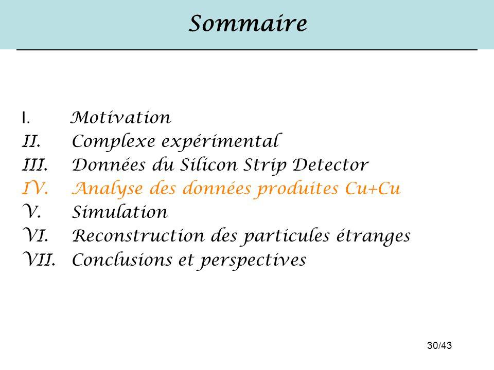 30/43 Sommaire I. Motivation II. Complexe expérimental III. Données du Silicon Strip Detector IV. Analyse des données produites Cu+Cu V. Simulation VI