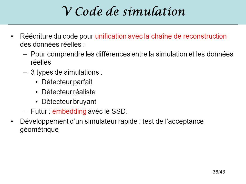 36/43 V Code de simulation Réécriture du code pour unification avec la chaîne de reconstruction des données réelles : –Pour comprendre les différences