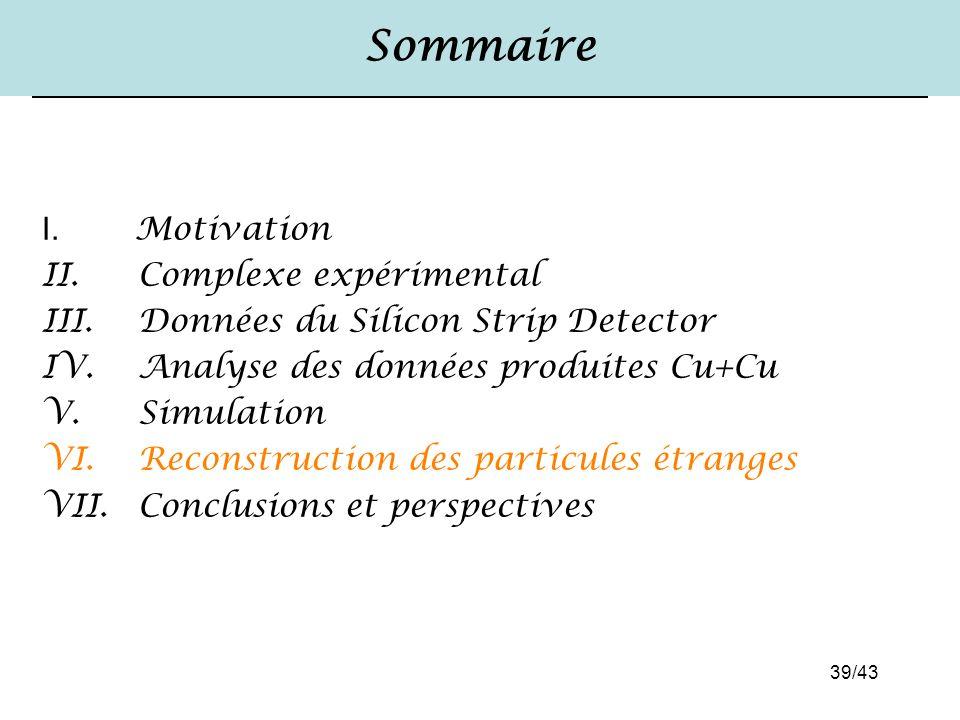 39/43 Sommaire I. Motivation II. Complexe expérimental III. Données du Silicon Strip Detector IV. Analyse des données produites Cu+Cu V. Simulation VI