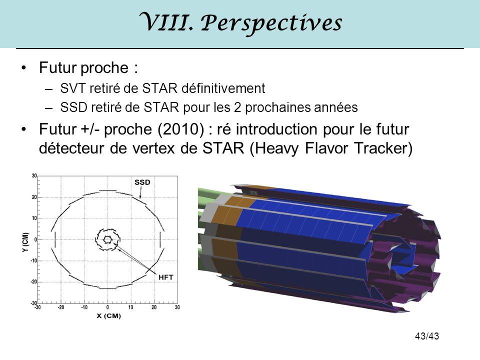 43/43 VIII. Perspectives Futur proche : –SVT retiré de STAR définitivement –SSD retiré de STAR pour les 2 prochaines années Futur +/- proche (2010) :