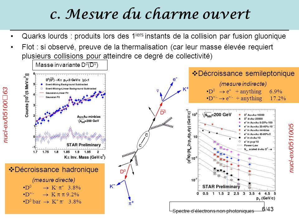 6/43 c. Mesure du charme ouvert Quarks lourds : produits lors des 1 iers instants de la collision par fusion gluonique Flot : si observé, preuve de la