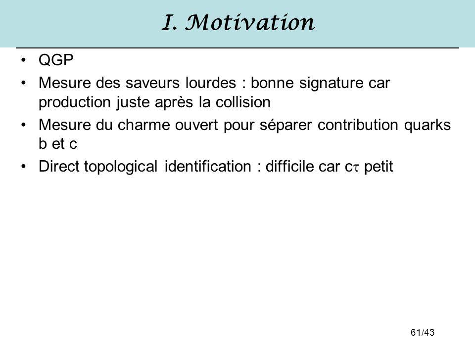 61/43 I. Motivation QGP Mesure des saveurs lourdes : bonne signature car production juste après la collision Mesure du charme ouvert pour séparer cont