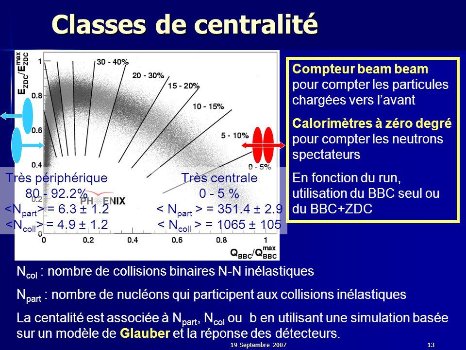 19 Septembre 200713 Classes de centralité Compteur beam beam pour compter les particules chargées vers l'avant Calorimètres à zéro degré pour compter les neutrons spectateurs En fonction du run, utilisation du BBC seul ou du BBC+ZDC N col : nombre de collisions binaires N-N inélastiques N part : nombre de nucléons qui participent aux collisions inélastiques La centalité est associée à N part, N col ou b en utilisant une simulation basée sur un modèle de Glauber et la réponse des détecteurs.