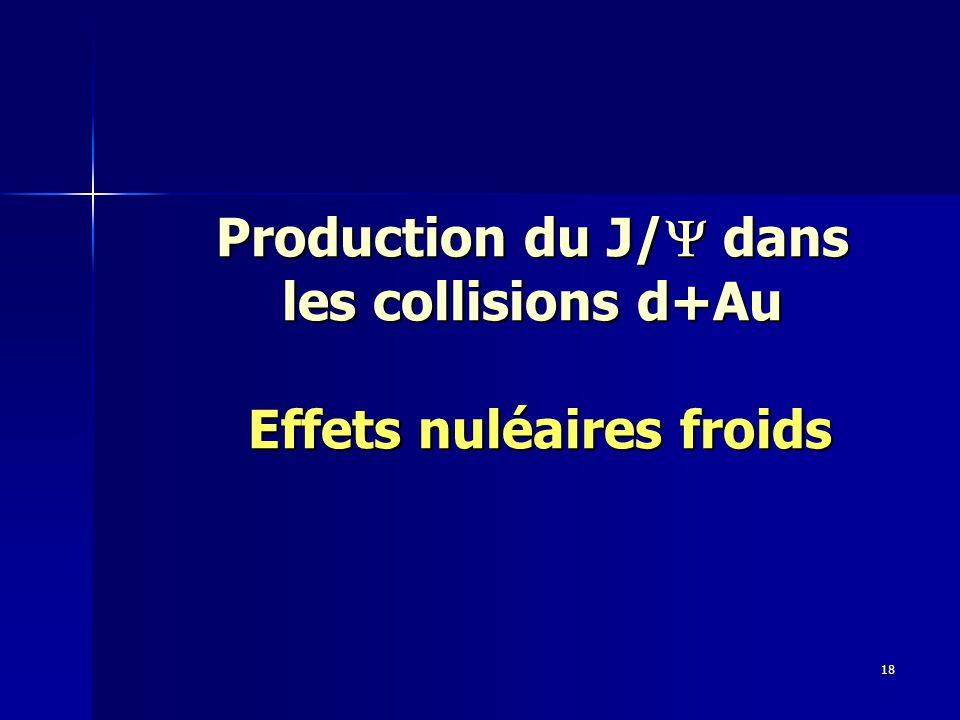 18 Production du J/  dans les collisions d+Au Effets nuléaires froids