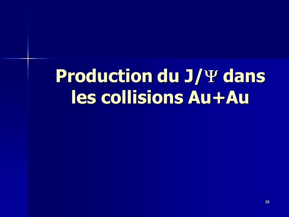 20 Production du J/  dans les collisions Au+Au