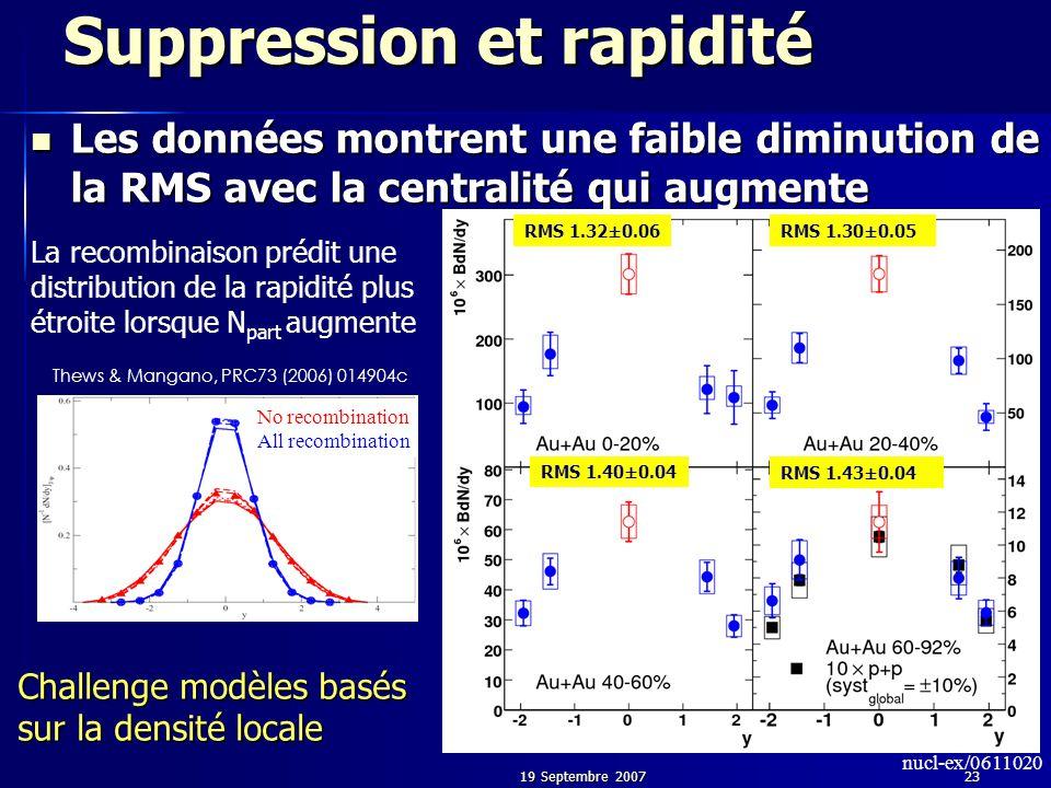 19 Septembre 200723 Suppression et rapidité Les données montrent une faible diminution de la RMS avec la centralité qui augmente Les données montrent une faible diminution de la RMS avec la centralité qui augmente No recombination All recombination Thews & Mangano, PRC73 (2006) 014904c La recombinaison prédit une distribution de la rapidité plus étroite lorsque N part augmente RMS 1.43±0.04 RMS 1.40±0.04 RMS 1.32±0.06RMS 1.30±0.05 nucl-ex/0611020 Challenge modèles basés sur la densité locale