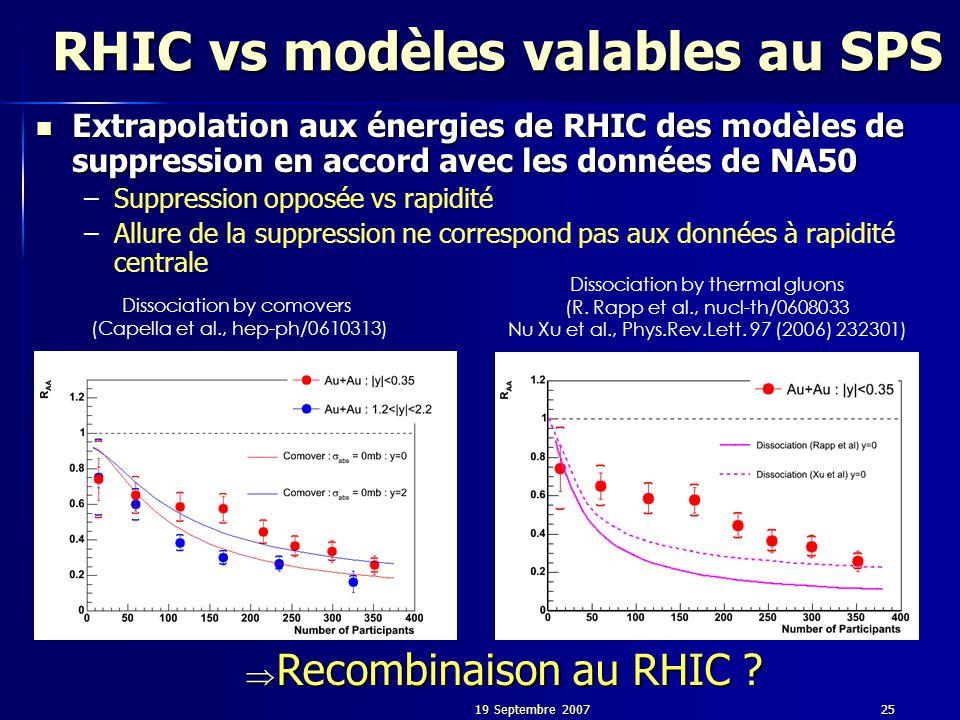 19 Septembre 200725 RHIC vs modèles valables au SPS Extrapolation aux énergies de RHIC des modèles de suppression en accord avec les données de NA50 Extrapolation aux énergies de RHIC des modèles de suppression en accord avec les données de NA50 – –Suppression opposée vs rapidité – –Allure de la suppression ne correspond pas aux données à rapidité centrale Dissociation by comovers (Capella et al., hep-ph/0610313) Dissociation by thermal gluons (R.