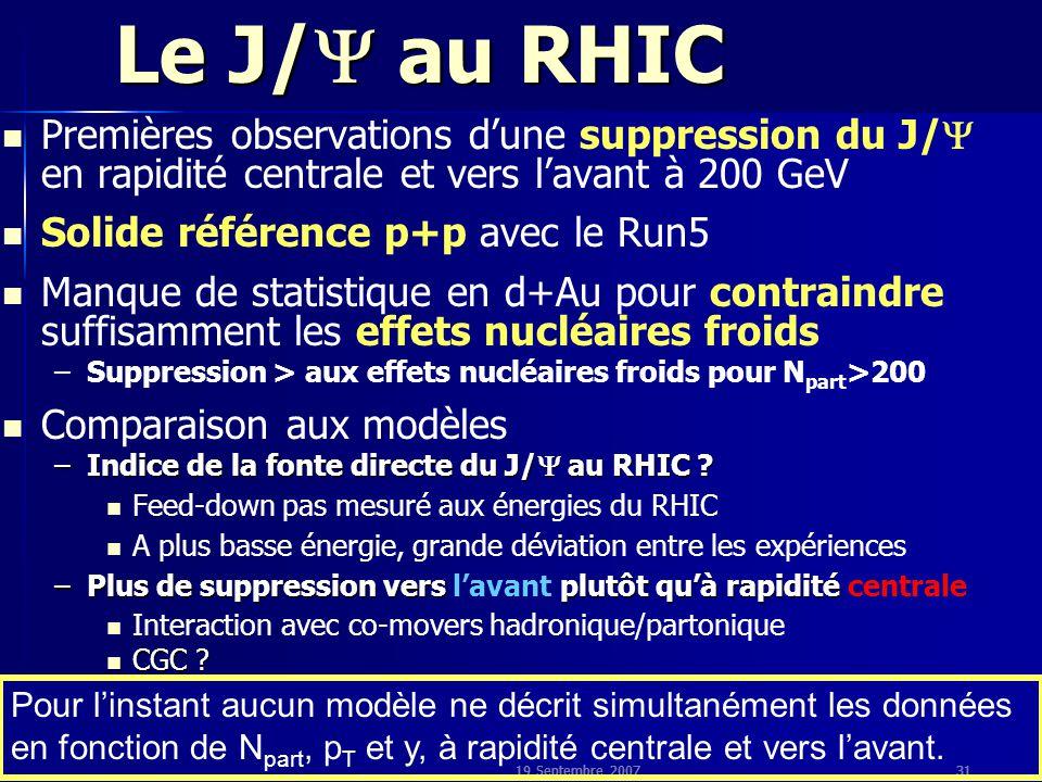 19 Septembre 200731 Le J/  au RHIC Premières observations d'une suppression du J/  en rapidité centrale et vers l'avant à 200 GeV Solide référence p+p avec le Run5 Manque de statistique en d+Au pour contraindre suffisamment les effets nucléaires froids – –Suppression > aux effets nucléaires froids pour N part >200 Comparaison aux modèles –Indice de la fonte directe du J/  au RHIC .