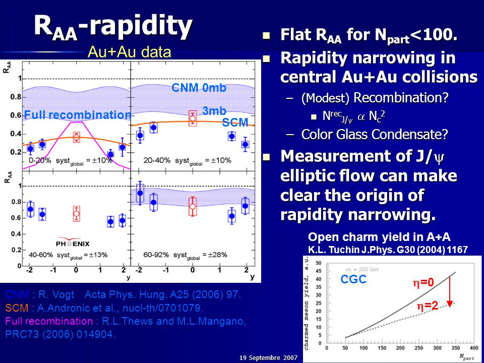 19 Septembre 200739 R AA -rapidity CNM 0mb 3mb  =0  =2 Open charm yield in A+A K.L. Tuchin J.Phys. G30 (2004) 1167 CGC Flat R AA for N part <100. Fl