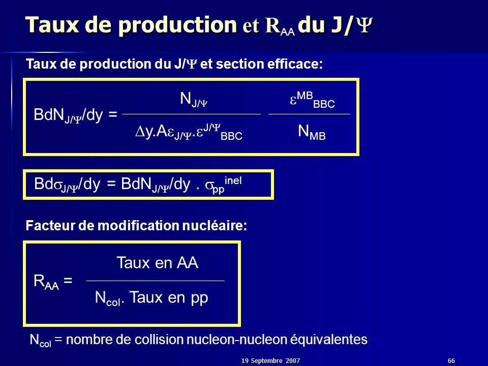 19 Septembre 200766 Taux de production et R du J/  Taux de production et R AA du J/  N col = nombre de collision nucleon-nucleon équivalentes Facteur de modification nucléaire:  Taux de production du J/  et section efficace: BdN J/  /dy = N J/   y.A  J/ .