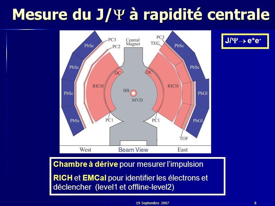 19 Septembre 20078 Mesure du J/  à rapidité centrale Chambre à dérive pour mesurer l'impulsion RICH et EMCal pour identifier les électrons et déclencher (level1 et offline-level2) J/  e + e -