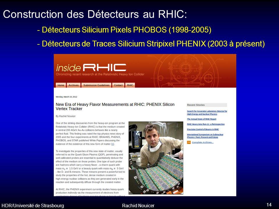 HDR/Université de Strasbourg Rachid Nouicer 14 Construction des Détecteurs au RHIC: - Détecteurs Silicium Pixels PHOBOS (1998-2005) - Détecteurs de Tr