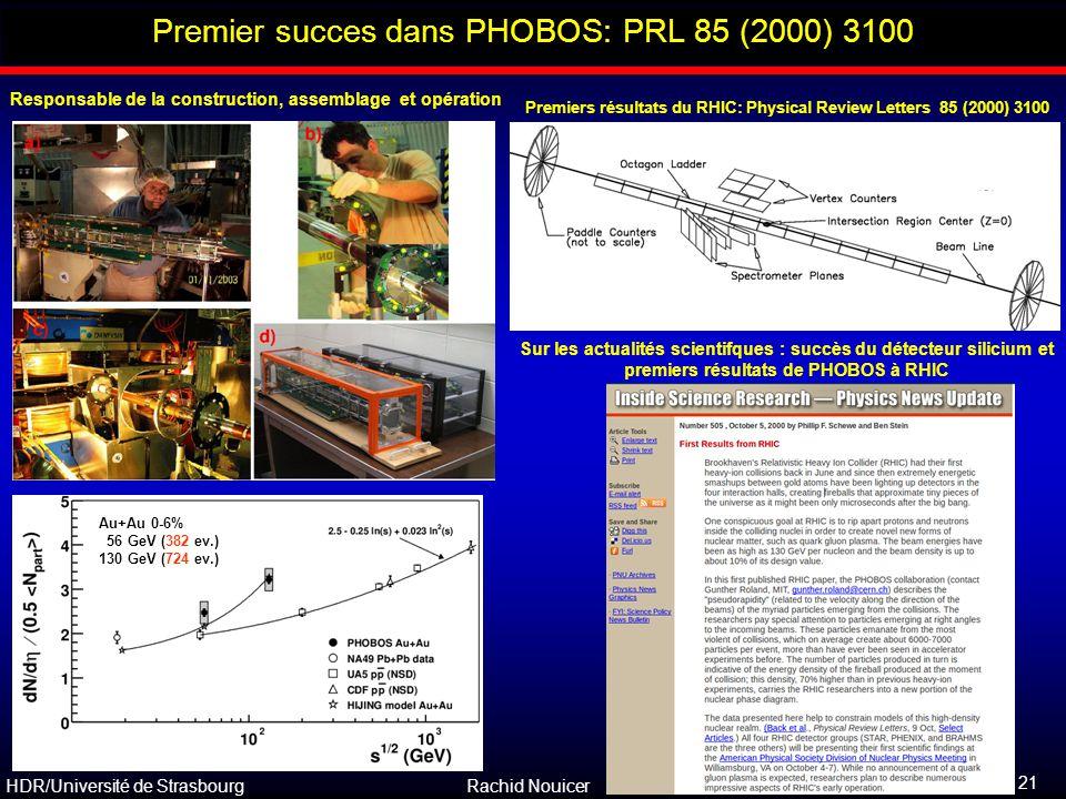 HDR/Université de Strasbourg Rachid Nouicer 21 Outline Premier succes dans PHOBOS: PRL 85 (2000) 3100 Responsable de la construction, assemblage et op