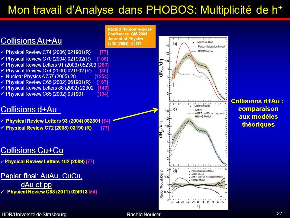 HDR/Université de Strasbourg Rachid Nouicer 27 Outline Collisions d+Au : comparaison aux modèles théoriques Collisions Au+Au Physical Review C74 (2006