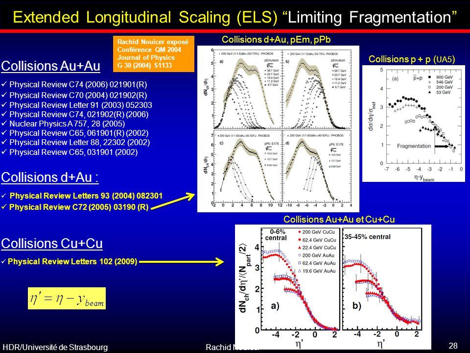 """HDR/Université de Strasbourg Rachid Nouicer 28 Outline Collisions Au+Au et Cu+Cu Extended Longitudinal Scaling (ELS) """"Limiting Fragmentation"""" Collisio"""