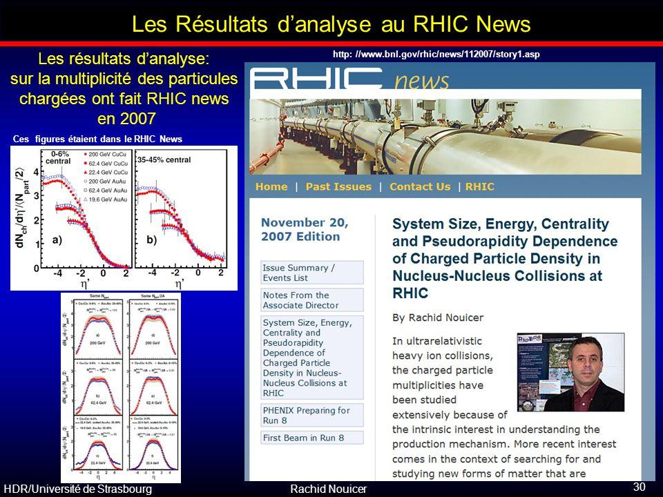 HDR/Université de Strasbourg Rachid Nouicer 30 Outline Les Résultats d'analyse au RHIC News Les résultats d'analyse: sur la multiplicité des particule