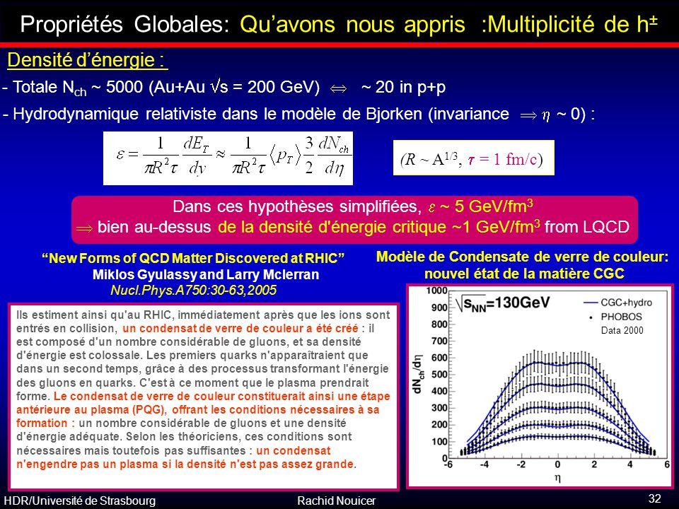 HDR/Université de Strasbourg Rachid Nouicer 32 Outline Propriétés Globales: Qu'avons nous appris :Multiplicité de h ± Densité d'énergie : - Hydrodynam