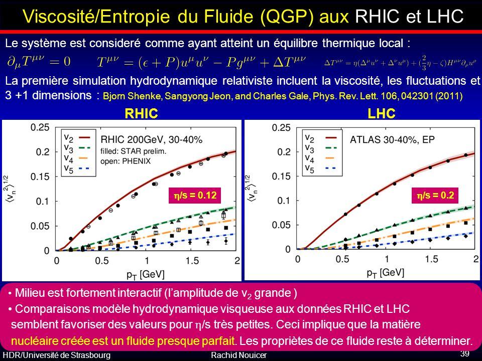 HDR/Université de Strasbourg Rachid Nouicer 39 Viscosité/Entropie du Fluide (QGP) aux RHIC et LHC RHICLHC  /s = 0.2  /s = 0.12 La première simulatio