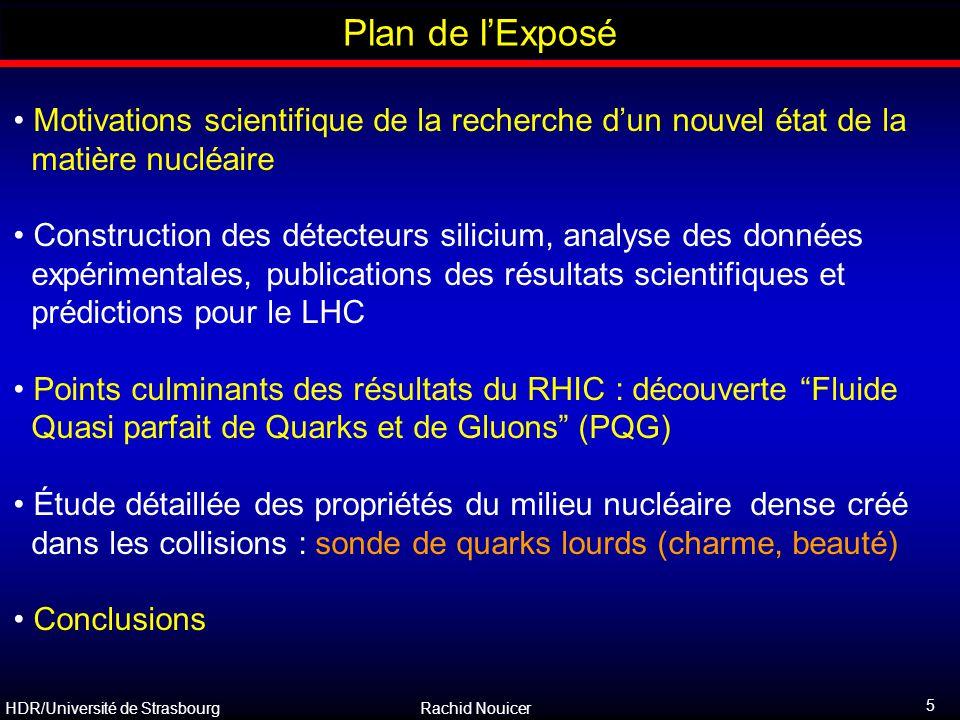HDR/Université de Strasbourg Rachid Nouicer 5 Outline Plan de l'Exposé Motivations scientifique de la recherche d'un nouvel état de la matière nucléai