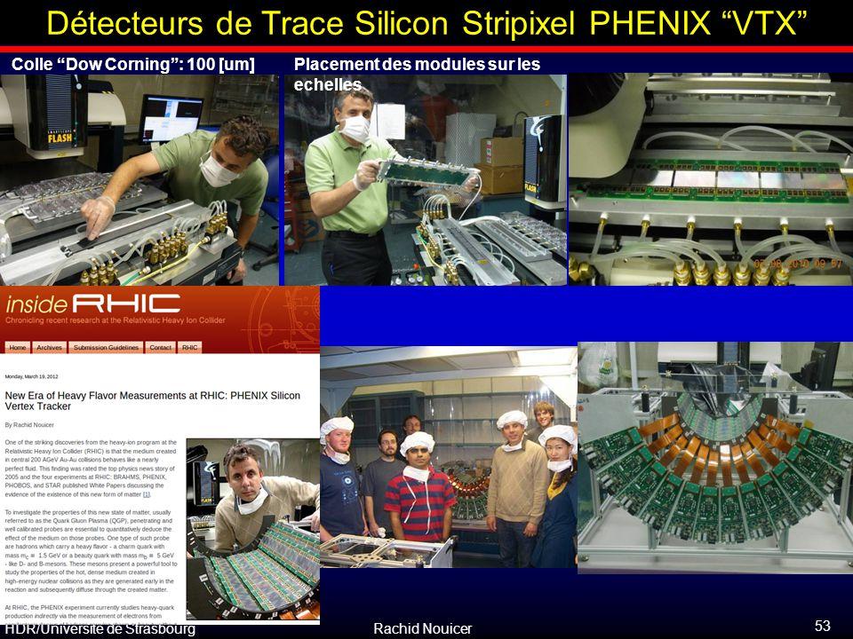 """HDR/Université de Strasbourg Rachid Nouicer Colle """"Dow Corning"""": 100 [um]Placement des modules sur les echelles Détecteurs de Trace Silicon Stripixel"""