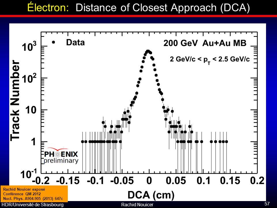 HDR/Université de Strasbourg Rachid Nouicer Électron: Distance of Closest Approach (DCA) 57 Rachid Nouicer exposé Conférence QM 2012 Nucl. Phys. A904-