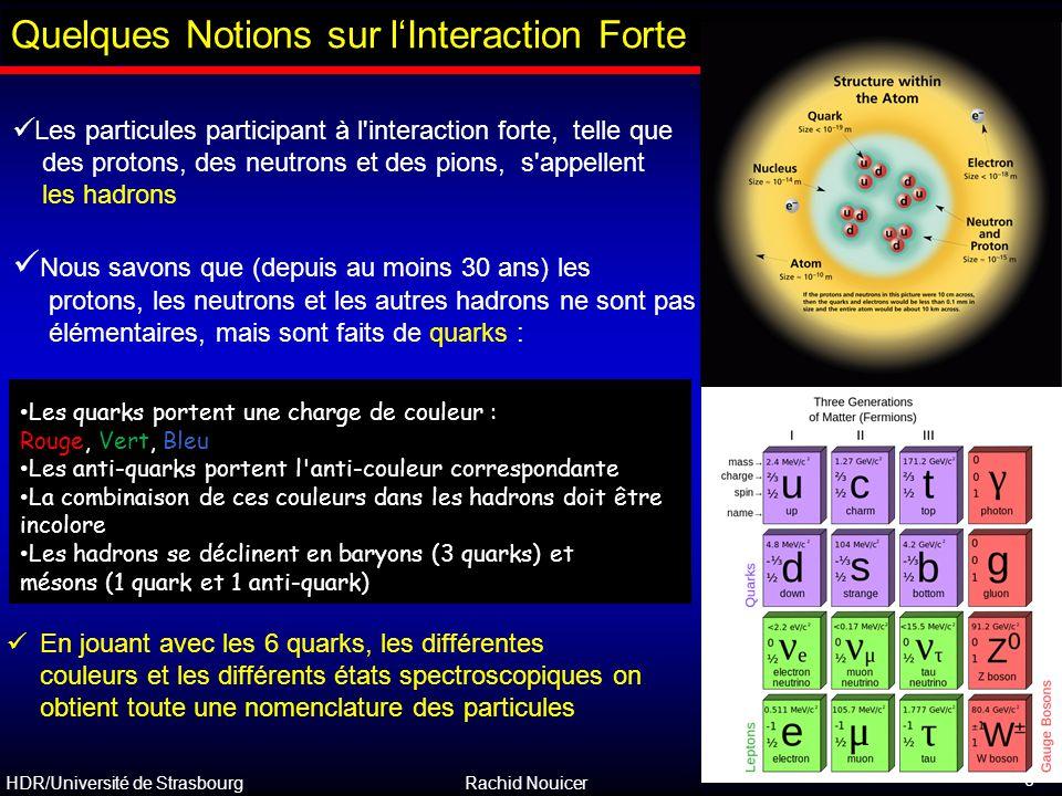 HDR/Université de Strasbourg Rachid Nouicer 6 Les particules participant à l'interaction forte, telle que des protons, des neutrons et des pions, s'ap