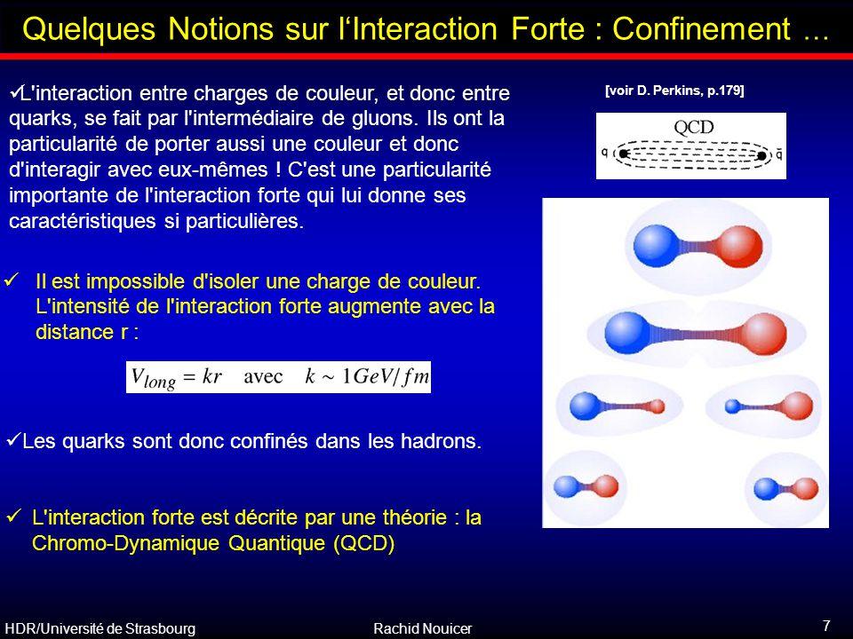 HDR/Université de Strasbourg Rachid Nouicer 8 Outline Caractéristique Essentielle de QCD: Liberté Asymptotique QCD ''libertè asymptotique'' : – le potentiel court de distance est du type : 0.2 fm 0.02 fm 0.002 fm Asymptotic Freedom  – la constante de couplage dépend de r de telle manière que : La théorie de la perturbation peut être appliquée à courte distance et à haut moment de transfert [voir D.