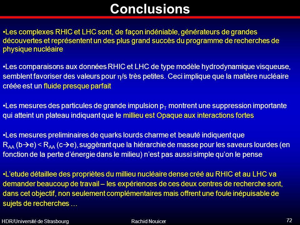 HDR/Université de Strasbourg Rachid Nouicer Conclusions Les complexes RHIC et LHC sont, de façon indéniable, générateurs de grandes découvertes et rep