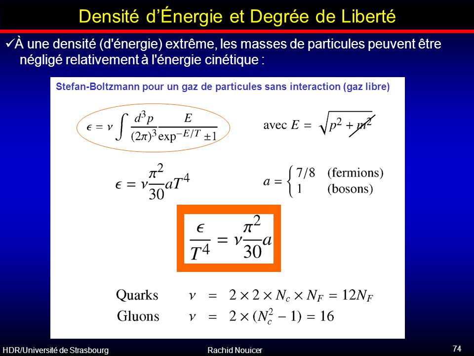 HDR/Université de Strasbourg Rachid Nouicer 74 Outline Densité d'Énergie et Degrée de Liberté À une densité (d'énergie) extrême, les masses de particu