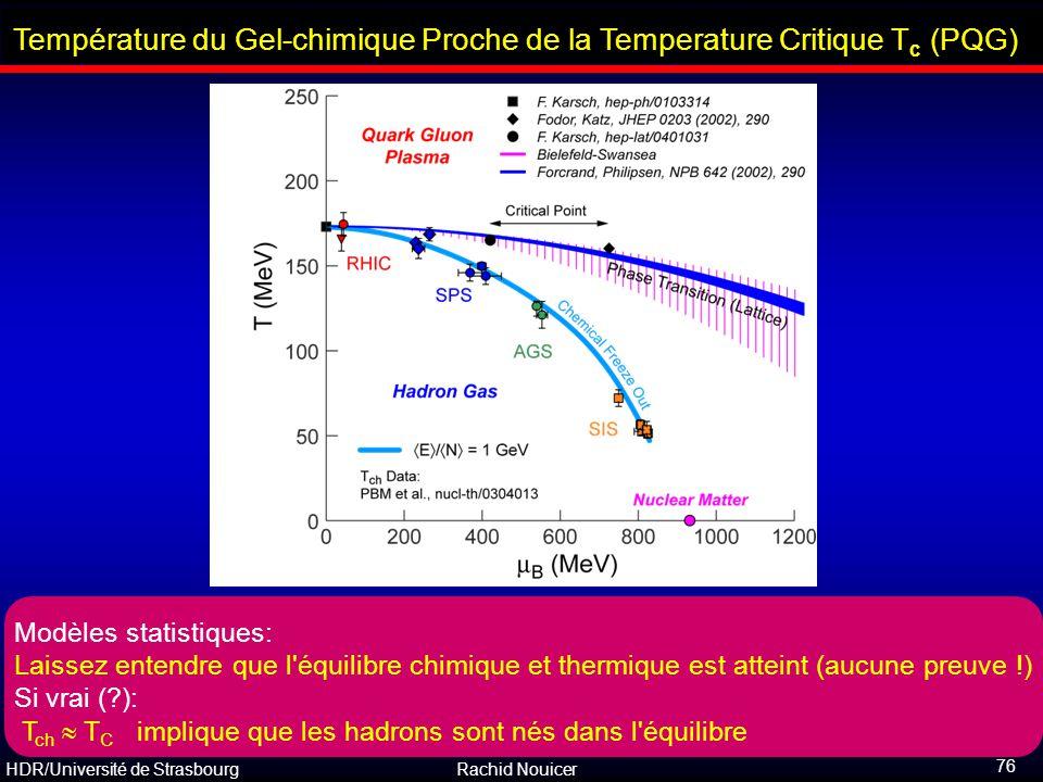 HDR/Université de Strasbourg Rachid Nouicer 76 Température du Gel-chimique Proche de la Temperature Critique T c (PQG) Modèles statistiques: Laissez e