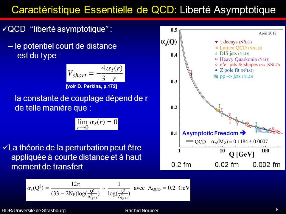 HDR/Université de Strasbourg Rachid Nouicer 8 Outline Caractéristique Essentielle de QCD: Liberté Asymptotique QCD ''libertè asymptotique'' : – le pot