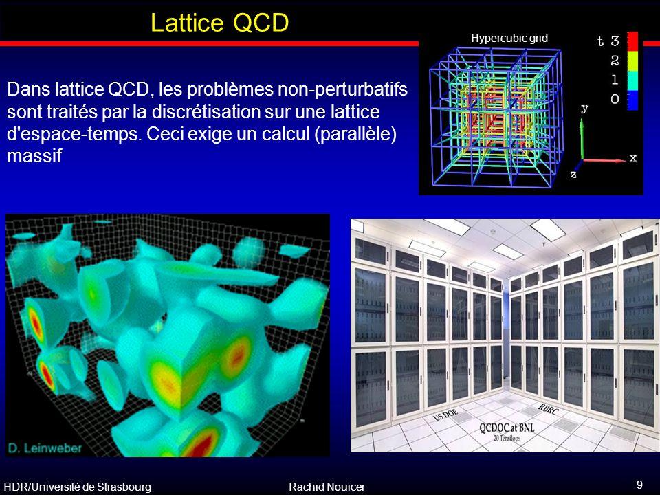 HDR/Université de Strasbourg Rachid Nouicer 10 Outline Résultats de Lattice QCD Densité de baryon nulle, 3 saveurs ε/T 4 change rapidement autour T c T c = 170 MeV  ε c = 0.6 GeV/fm 3 PQG = Plasma quark-gluon Hadron gaz T ~ 1.2 T c le valeur de ε est à environ 80% de la valeur de Stefan-Boltzmann pour un gaz idéal de q, q, g (ε SB ) Stefan-Boltzmann pour un gaz de particules sans interaction (gaz libre)