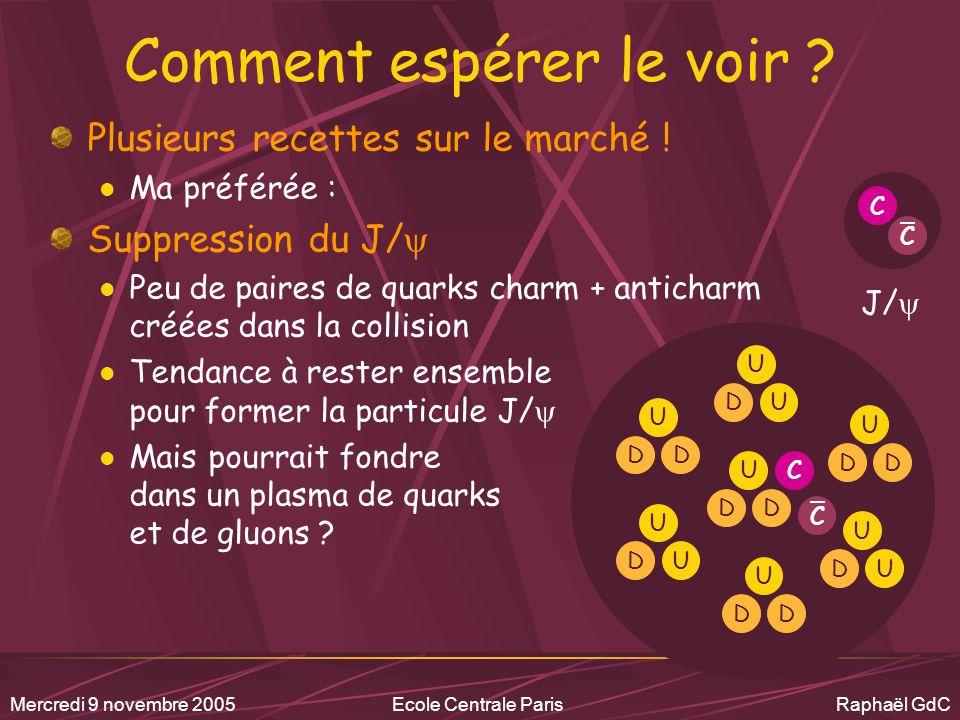 Mercredi 9 novembre 2005Ecole Centrale Paris Raphaël GdC L'outil : les collisions d'ions lourds à haute énergie .
