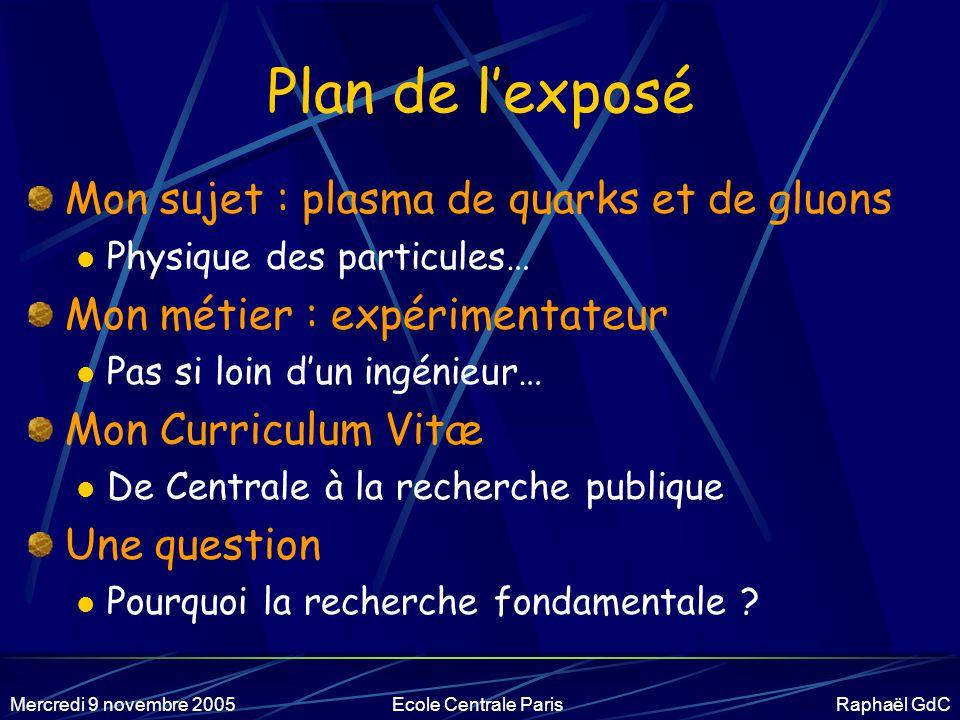 Mercredi 9 novembre 2005Ecole Centrale Paris Raphaël GdC Avertissements… Illustration par un exemple (le mien) Posez des questions .