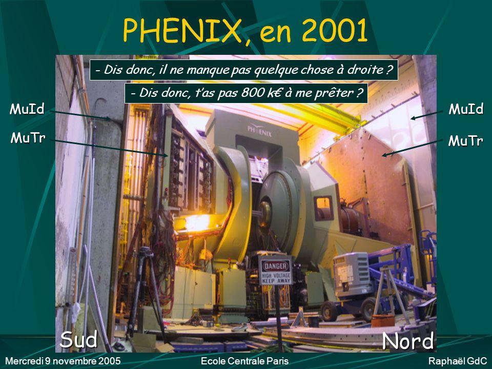 Mercredi 9 novembre 2005Ecole Centrale Paris Raphaël GdC PHENIX, les détecteurs Deux spectro centraux (protons, , K électrons) Deux spectro à muons vers l'avant (deux NA50) Ouest 1999 Sud 2001 Nord 2002 Est 2000 + Trois détecteurs globaux ZERO DEGREE CALORIMETER