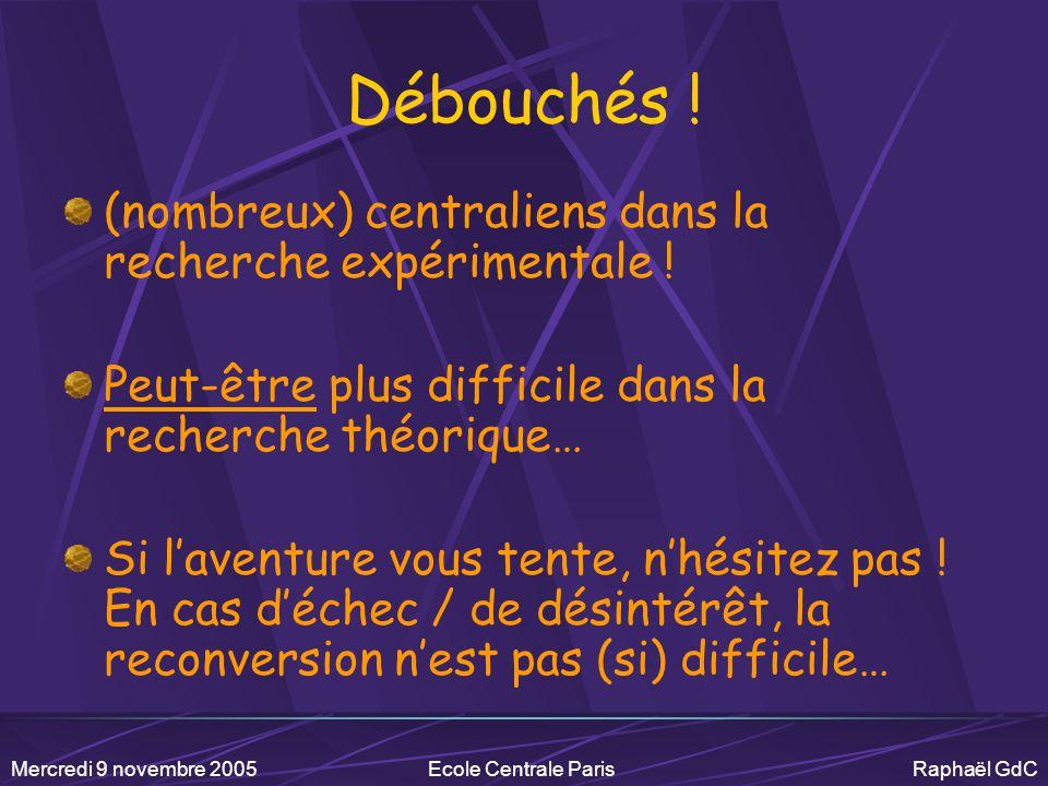 Mercredi 9 novembre 2005Ecole Centrale Paris Raphaël GdC Mon CV ECP 95 / Ex-option physique Cours de relativités, de mécanique quantique, d'astro, de nucléaire, de particules,… 95-96 DEA Champs particules matière 96-97 Service militaire… 97-00 Thèse au CEA-Saclay Violation de CP – expérience NA48 – CERN 2000 Embauche au CNRS Laboratoire Leprince-Ringuet – Ecole polytechnique Plasma de quarks et de gluons – PHENIX - BNL