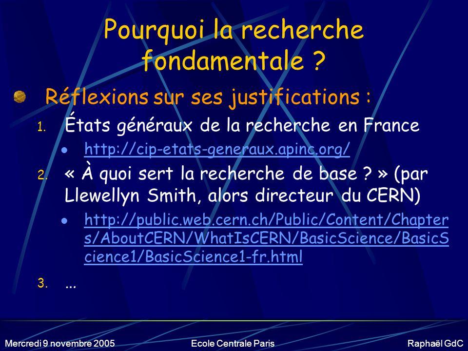 Mercredi 9 novembre 2005Ecole Centrale Paris Raphaël GdC Définitions Recherche fondamentale ou appliquée .