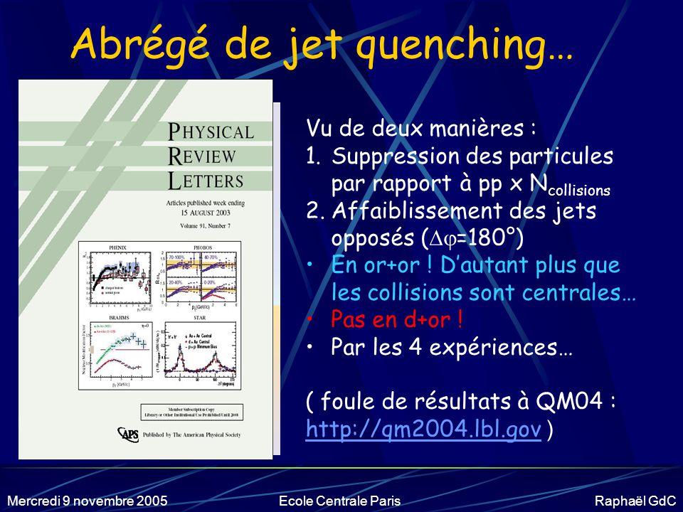 Mercredi 9 novembre 2005Ecole Centrale Paris Raphaël GdC Le calendrier Run 1 5 sem.