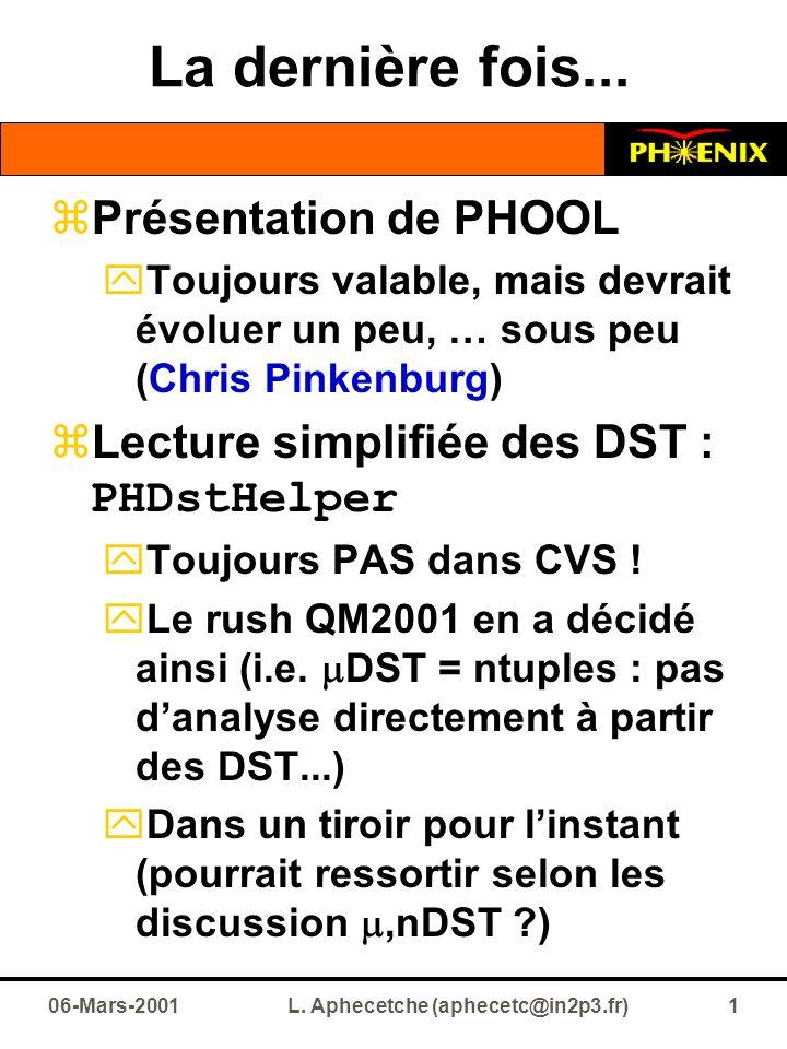 06-Mars-2001L. Aphecetche (aphecetc@in2p3.fr)1 La dernière fois...  Présentation de PHOOL  Toujours valable, mais devrait évoluer un peu, … sous peu