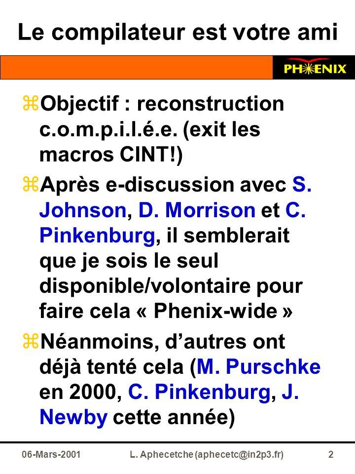 06-Mars-2001L. Aphecetche (aphecetc@in2p3.fr)2 Le compilateur est votre ami  Objectif : reconstruction c.o.m.p.i.l.é.e. (exit les macros CINT!)  Apr