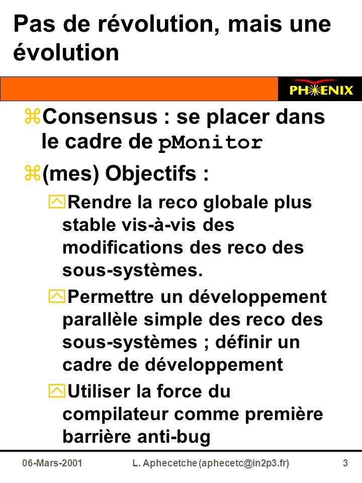 Pas de révolution, mais une évolution  Consensus : se placer dans le cadre de pMonitor  (mes) Objectifs :  Rendre la reco globale plus stable vis-à-vis des modifications des reco des sous-systèmes.